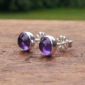 Amethyst Stone Bead Gemstone Earring