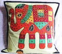 Boho Elephant Patch Cushion Cover