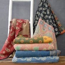 Indian kantha sari quilt