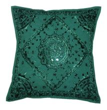 New Green Mirror work cushion cover