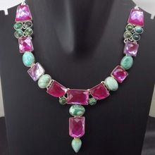 Pink Fire Glass Necklace