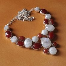Rainbow Moonstone Carnelian Necklace