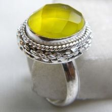 Yellow Onyx Checker Ring