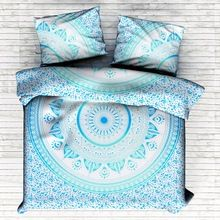 Cotton Hand Screen Print Ombre Mandala Blanket Cover