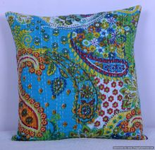 Cotton Handmade Turquoise Paisley Kantha Cushion Cover