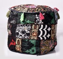 Patchwork Embroidery Design Ethnic Ottoman Pouf Cover