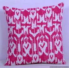 Pink Ikat Kantha Cushion Cover
