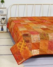 Silk Patchwork Multi Kantha Coverlet Quilt Bed Cover
