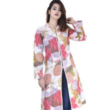 white floral kantha long maharaja jacket