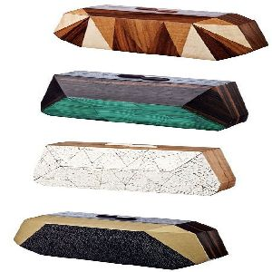 Ladies Wood And Resin Clutch Purses