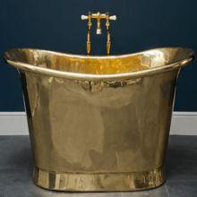 Copper Bath Tub With Verdigris Exterior