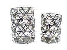 Modern Metal Glass Facets Hurricane