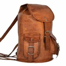 Vintage Handmade Genuine Leather School Backpack Bag