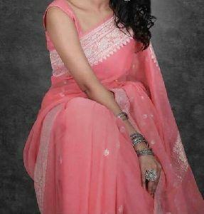 Ladies Party Wear Pure Chiffon Khadi Silk Saree