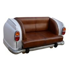 Iron Car Sofa With Leather Seat