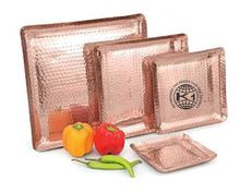 Hammered Copper Plating Food Serving Tray