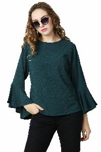 Imborn Jeans Olive Green Crepe Top With Flute Sleeves