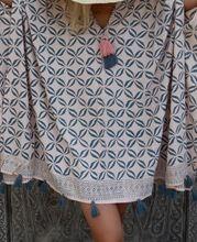Coffee Bean Caftan Summer Dress With Tassels