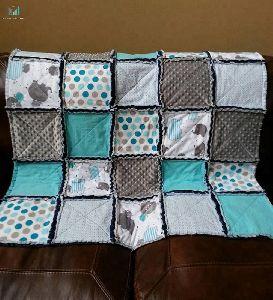 Handmade Kantha Baby Boy Rag Quilt