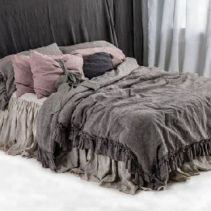 Linen Bedding Set With Double Ruffles Duvet Cover