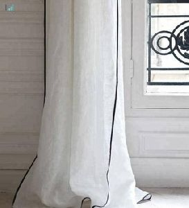 Linen H Trim Mix Piping Curtain