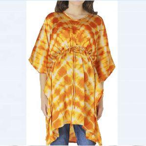 Orange Tie Die Maternity Dress