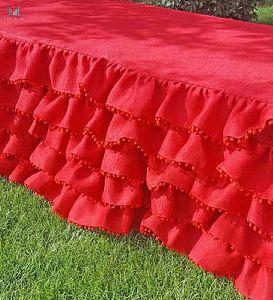 Red Wedding Decor Ruffle Tablecloth