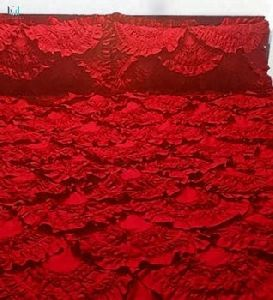 Scarlet Red King Size Ruffled Quilted Bedspread