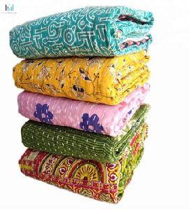 Twin Size Stripe Design Throw Cotton Kantha Bedspread