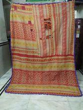 Vintage Kantha Quilt Indian Printed Cotton Pom Pom Throw
