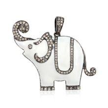 Pave Diamond White Enamel Elephant Pendant