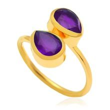 Amethyst Dabble Pear adjustable gemstone rings