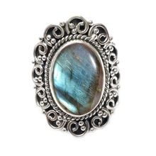 natural labradorite gemstone ring