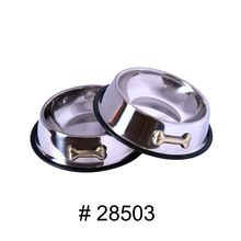 Stainless Steel Dog Bowl With Embossed Bone