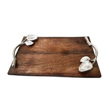 Wooden Pizza Serving Tray With Silver Leaves Handle