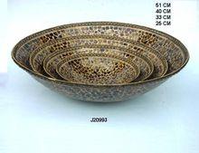 Amber Glass Mosaic Iron Bowl