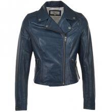 Blue Moto Slim Fit Fashion Leather Jacket
