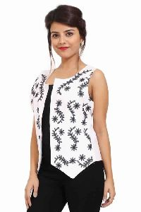 Solid White Cotton Party Wear Black Embroidery Jacket