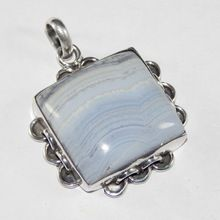 Blue Lace Agate Gemstone Pendant