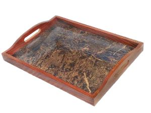 Wooden Serving Tray With Aluminium Base, A Perfect Gift Item.