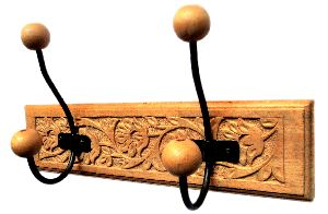Wooden Wall Hanger With 2 Hooks For Hanging Clothes,bathroom Hanger,gift Item 12 X 3 Inch