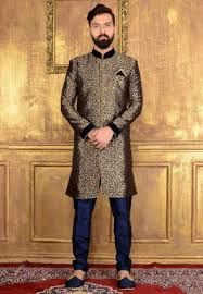 Mens Ethnic Black And Royal Blue Sherwani