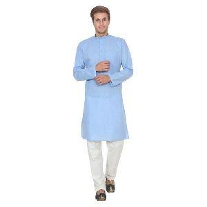 Mens Blue Cotton Kurta Pajama