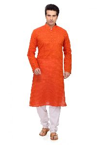 Mens Orange Cotton Kurta Pajama