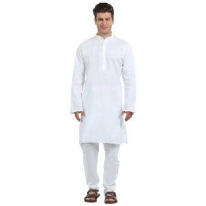 Mens White Cotton Kurta Pajama