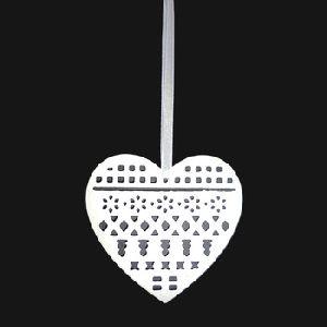 White Christmas Tree Ornament Metal Heart Shaped