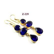 Charming Multi Shape Stone Blue Quartz Gold Plated German Silver Earring