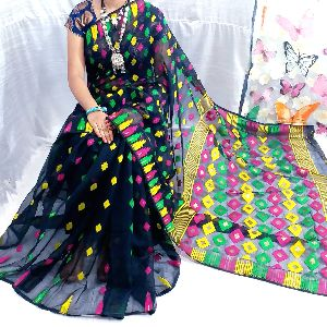 Handloom Soft Kalka Mina Jari Dhakai Jamdani Saree Uses Ethnic Vivid Colours