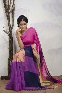 Handloom Khadi Linen Middle Border Saree Include In Fashion Shows