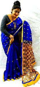 Handwoven Cotton Silk Cut Work Saree